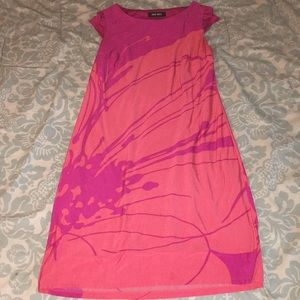 Nine West Pink/Purple FloralDress w/Cap Sleeves